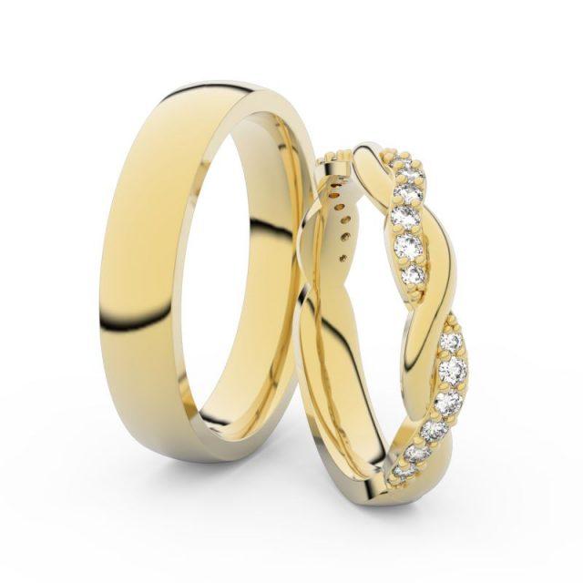 Snubní prsteny ze žlutého zlata s brilianty, pár – Danfil DF 3953