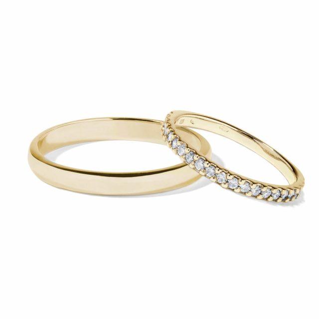 Snubní prsteny ze žlutého zlata s diamanty 0,31 ct, pár, Klenota