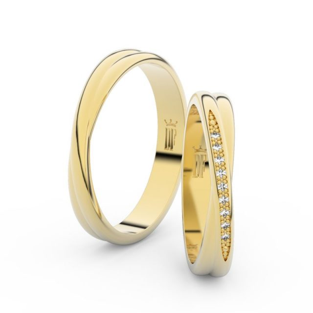 Snubní prsteny ze žlutého zlata se zirkony – pár, Danfil DF 3019