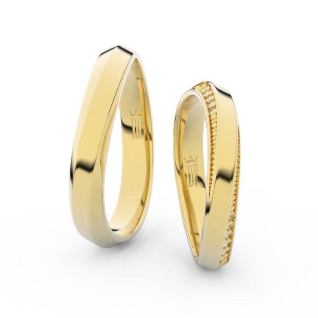 Snubní prsteny ze žlutého zlata se zirkony – pár, Danfil DF 3023