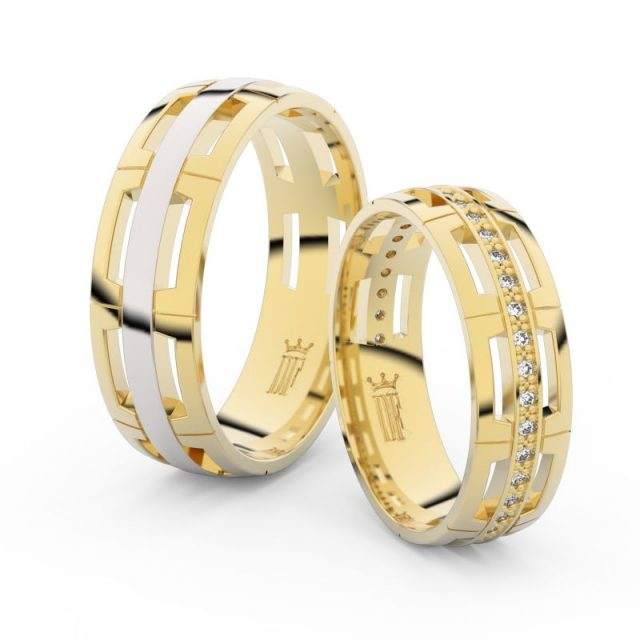Snubní prsteny ze žlutého zlata se zirkony – pár, Danfil DF 3048