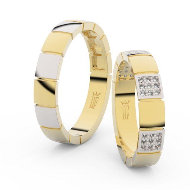 Snubní prsteny ze žlutého zlata se zirkony – pár, Danfil DF 3057