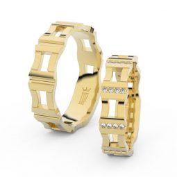 Snubní prsteny ze žlutého zlata se zirkony - pár, Danfil DF 3084