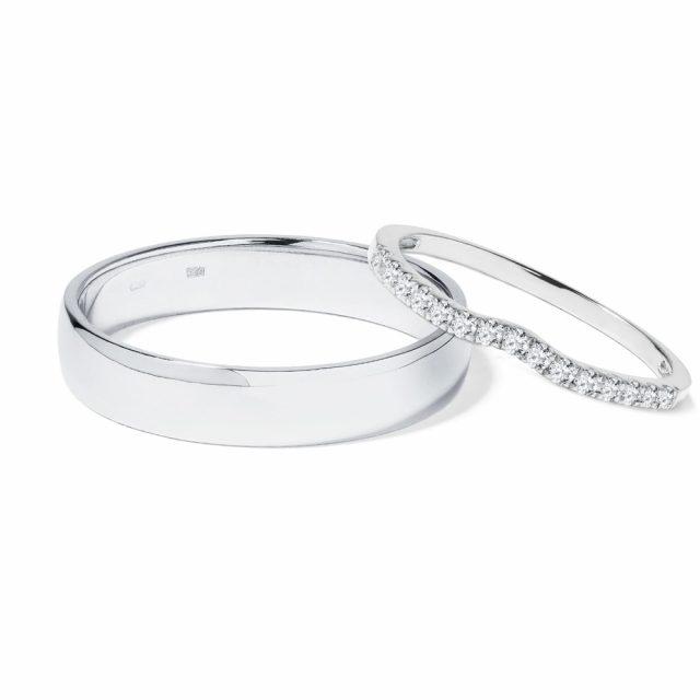 Snubní prsteny z bílého zlata s diamanty 5,5 g, pár, Klenota