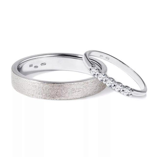 Snubní prsteny z bílého zlata s diamanty 6,5 g, pár, Klenota