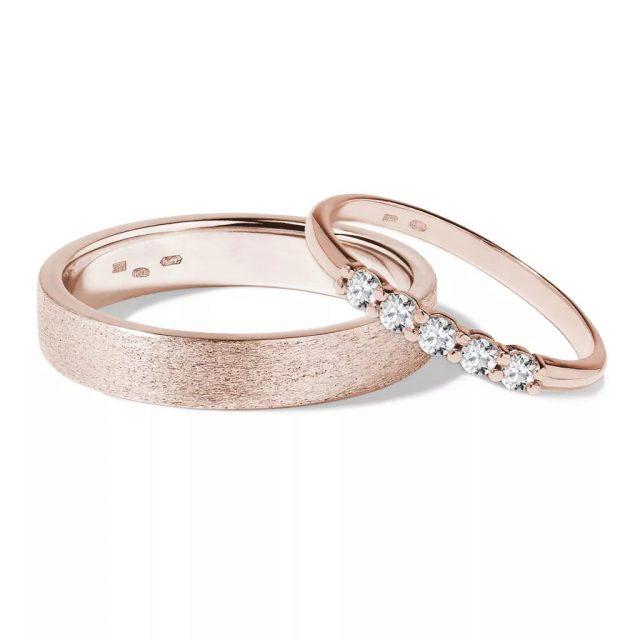 Snubní prsteny z růžového zlata s diamanty 0,3 ct, pár, Klenota