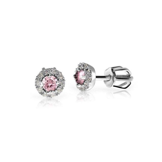 Dámské náušnice z bílého rhodia snow white s růžovým safírem a diamanty, Danfil DF 3100