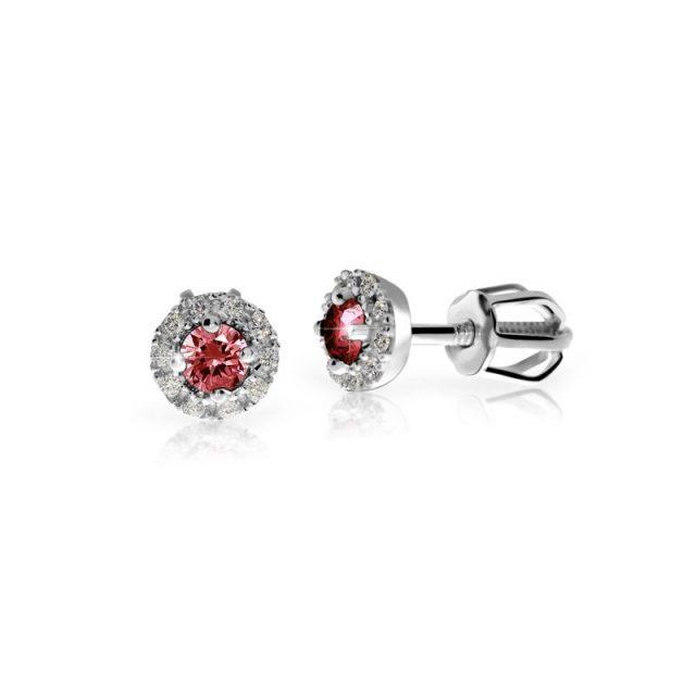 Dámské náušnice z bílého zlata, s rubínem a diamanty, Danfil DF 3100