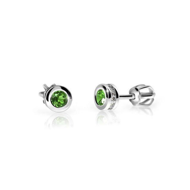 Náušnice z bílého zlata se smaragdem a diamanty, Danfil DF 3239
