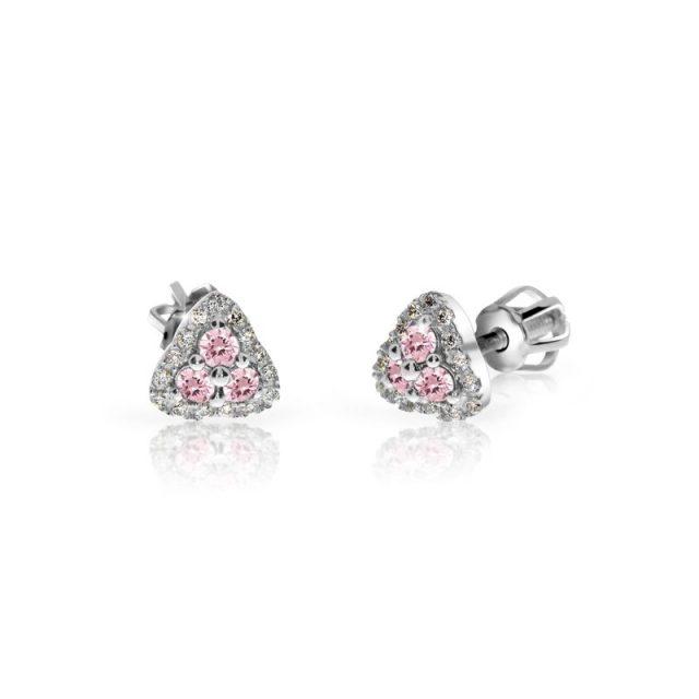 Náušnice z bílého zlata s růžovými safíry a diamanty, Danfil DF 3264