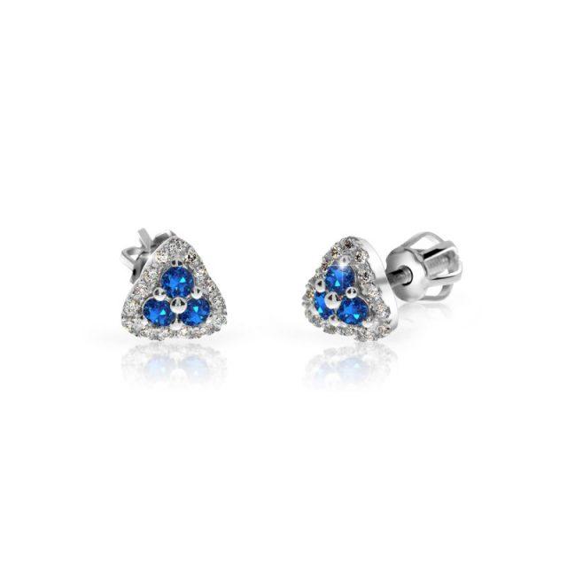 Náušnice z bílého zlata se safíry a diamanty, Danfil DF 3264