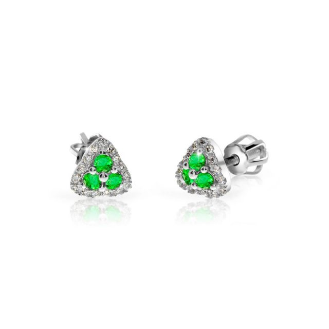 Náušnice z bílého zlata se smaragdy a diamanty, Danfil DF 3264