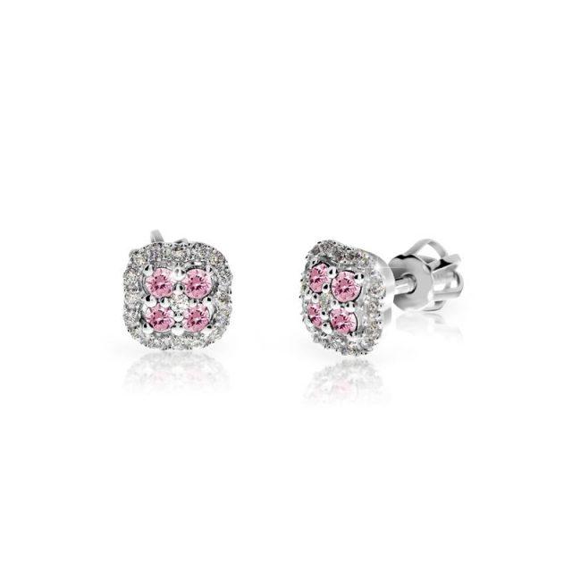 Náušnice z bílého zlata s růžovými safíry a diamanty, Danfil DF 3266