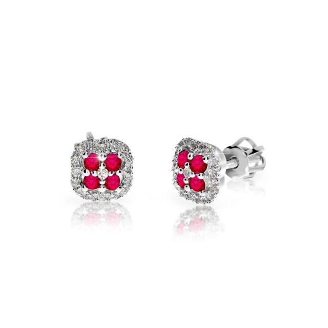 Náušnice z bílého zlata s rubíny a diamanty, Danfil DF 3266