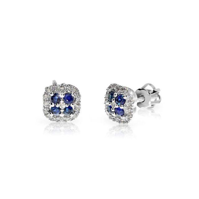 Náušnice z bílého zlata se safíry a diamanty, Danfil DF 3266