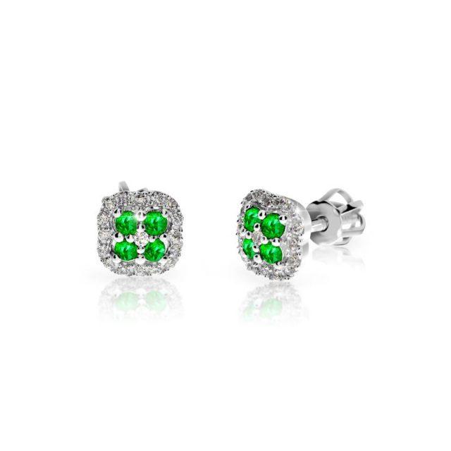 Náušnice z bílého zlata se smaragdy a diamanty, Danfil DF 3266