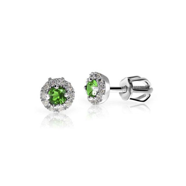 Náušnice z bílého zlata se smaragdem a diamanty, Danfil DF 3100