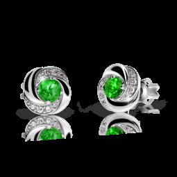 Dámské náušnice z bílého zlata se smaragdem a diamanty, Danfil DF 3265
