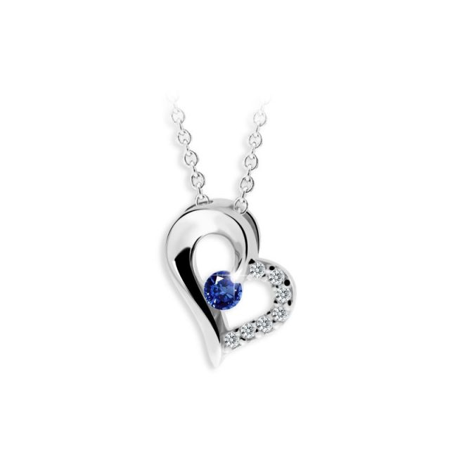 Dámský přívěsek z bílého zlata s modrým safírem a diamanty, DF 2974