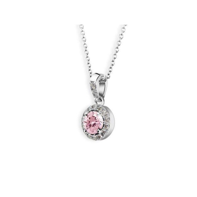 Přívěsek z bílého zlata s růžovým safírem a diamanty, Danfil DF 3099