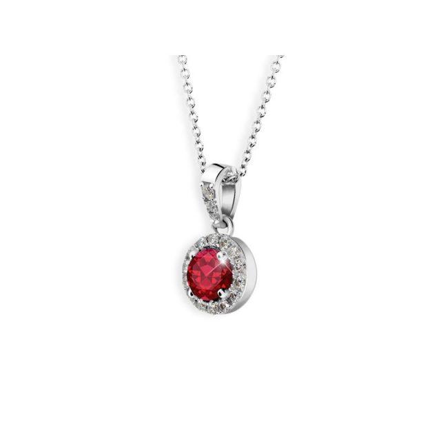 Dámský přívěsek z bílého zlata s rubínem a diamanty, Danfil DF 3099