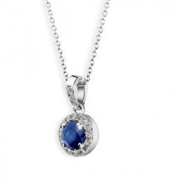 Dámský přívěsek z bílého zlata, se safírem a diamanty, Danfil DF 3099
