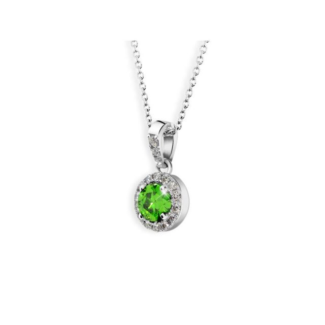 Dámský přívěsek z bílého zlata se smaragdem a diamanty, Danfil DF 3099