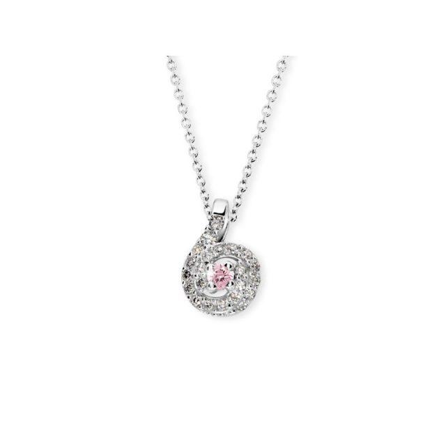 Přívěsek z bílého zlata s růžovým safírem a diamanty, Danfil DF 3157