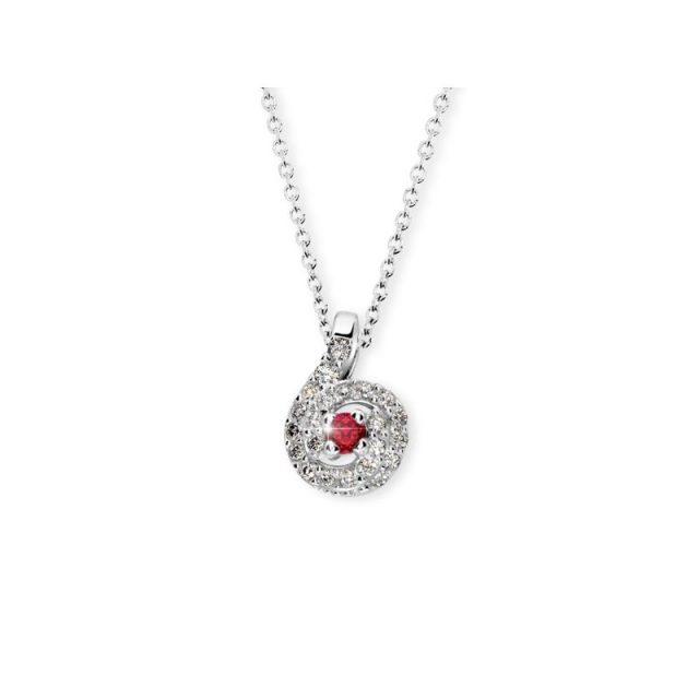 Přívěsek z bílého zlata s rubínem a diamanty, Danfil DF 3157