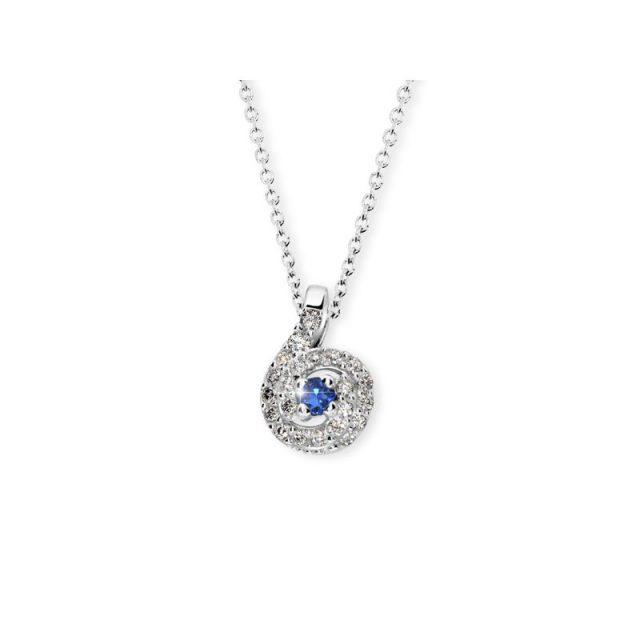 Dámský přívěsek z bílého zlata se safírem a diamanty, Danfil DF 3157