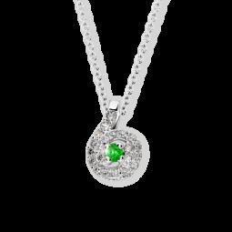 Přívěsek z bílého zlata se smaragdem a diamanty, Danfil DF 3157