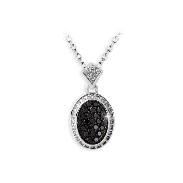 Přívěsek z bílého zlata s černými diamanty Danfil DF 3208B