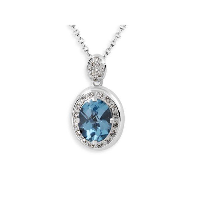 Dámský přívěsek z bílého zlata s modrým topazem a diamanty, DF 3369