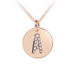 Přívěsek z růžového zlata s brilianty, placička DF 4480, písmeno A