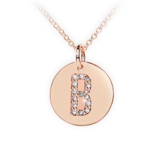 Přívěsek z růžového zlata s brilianty, placička DF 4481, písmeno B