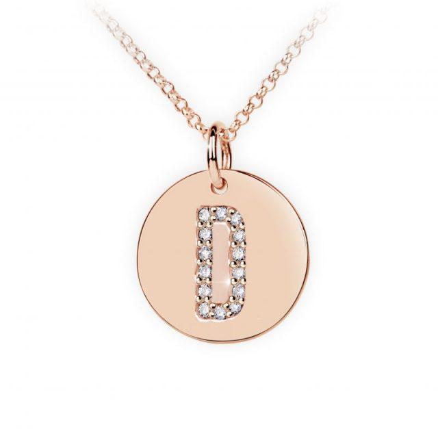 Přívěsek z růžového zlata s brilianty, placička DF 4483, písmeno D