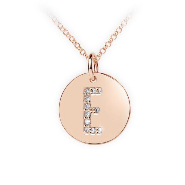 Přívěsek z růžového zlata s brilianty, placička DF 4484, písmeno E