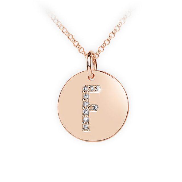 Přívěsek z růžového zlata s brilianty, placička DF 4485, písmeno F