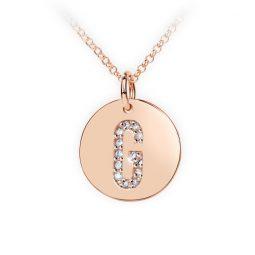 Přívěsek z růžového zlata s brilianty, placička DF 4486, písmeno G