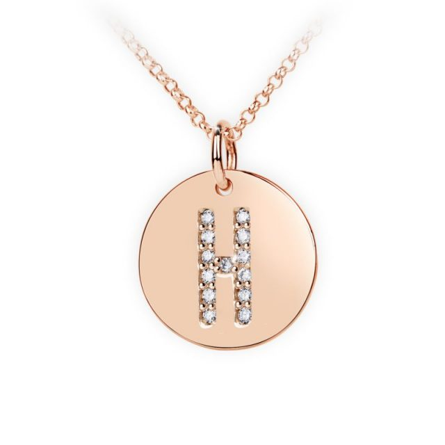 Přívěsek z růžového zlata s brilianty, placička DF 4487, písmenko H