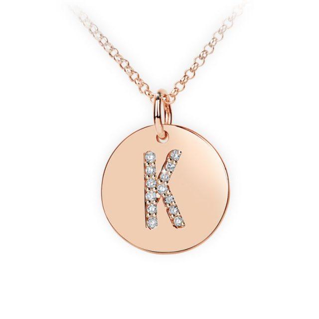 Přívěsek z růžového zlata s brilianty, placička DF 4490, písmeno K