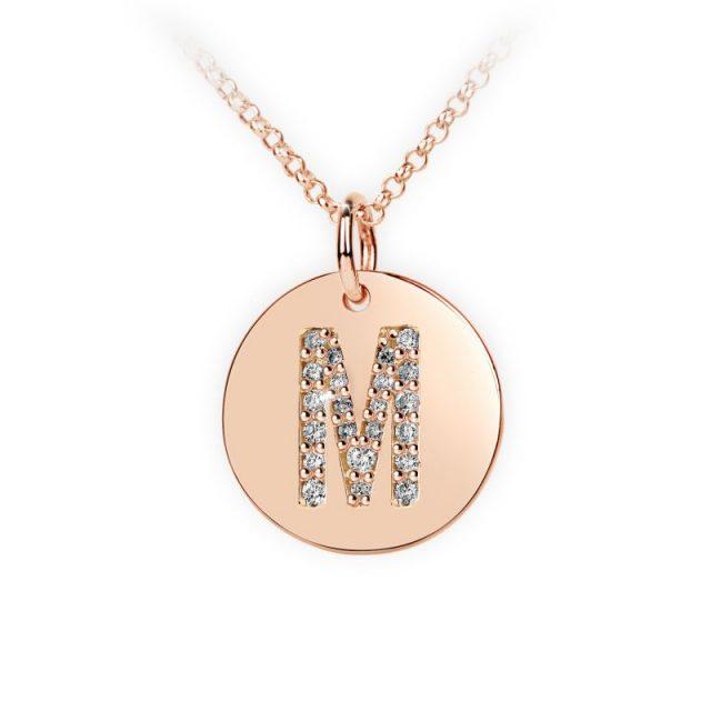 Přívěsek z růžového zlata s brilianty, placička DF 4492, písmenko M