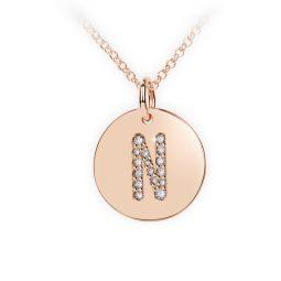 Přívěsek z růžového zlata s brilianty, placička DF 4493, písmeno N