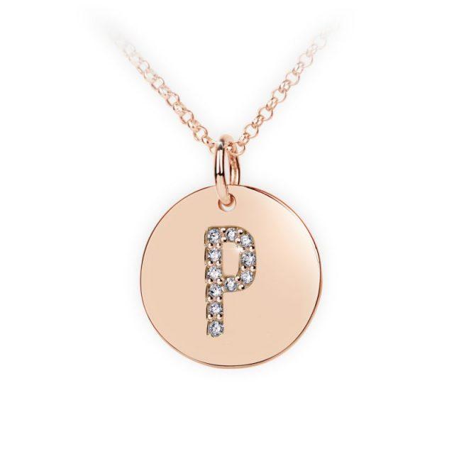 Přívěsek z růžového zlata s brilianty, placička DF 4495, písmeno P
