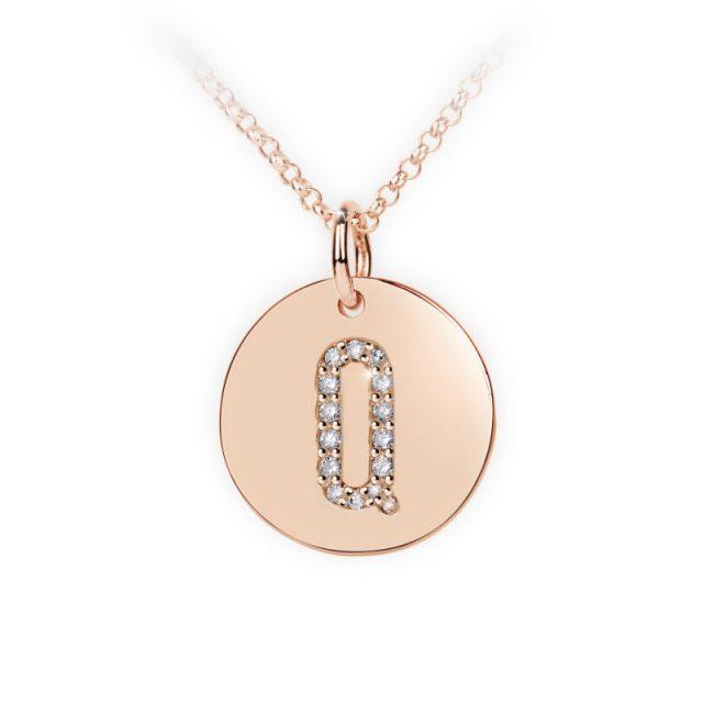 Přívěsek z růžového zlata s brilianty, placička DF 4496, písmeno Q