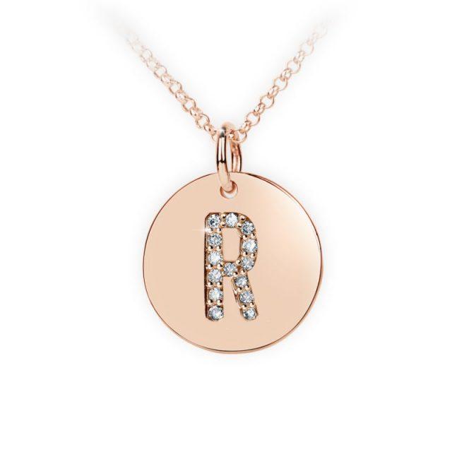 Přívěsek z růžového zlata s brilianty, placička DF 4497, písmeno R