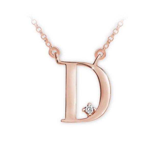 Přívěsek s řetízkem z růžového zlata s briliantem, DF 4509, písmeno D