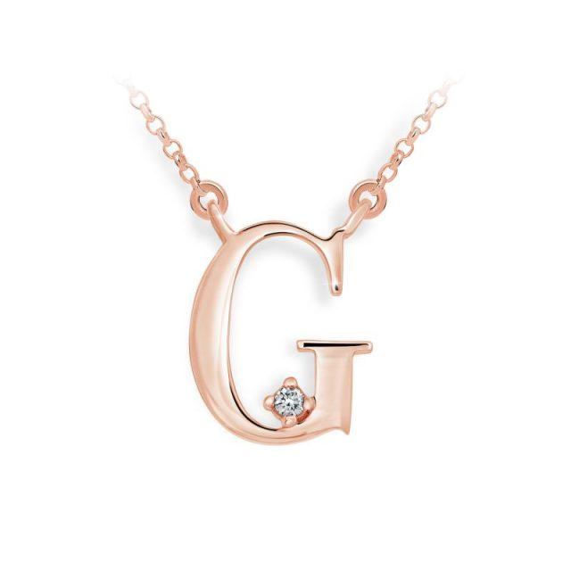 Přívěsek s řetízkem z růžového zlata s briliantem, DF 4512, písmenko G