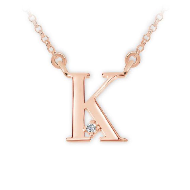 Přívěsek s řetízkem z růžového zlata s briliantem, DF 4516, písmeno K