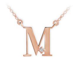 Přívěsek s řetízkem z růžového zlata s briliantem, DF 4518, písmeno M